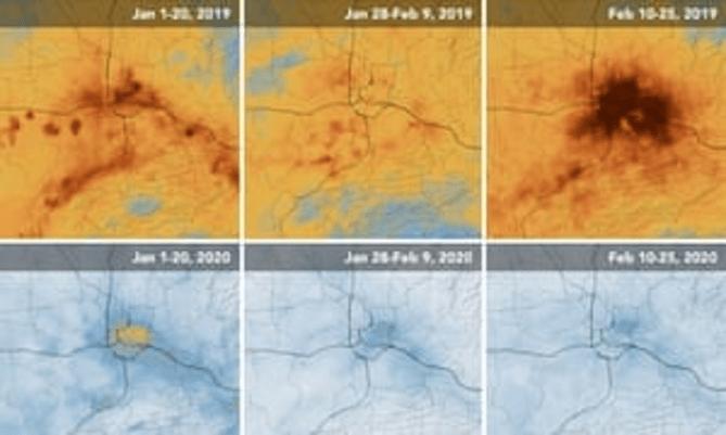 Mapas de la NASA que muestran valores de NO2 sobre Wuhan durante enero y febrero